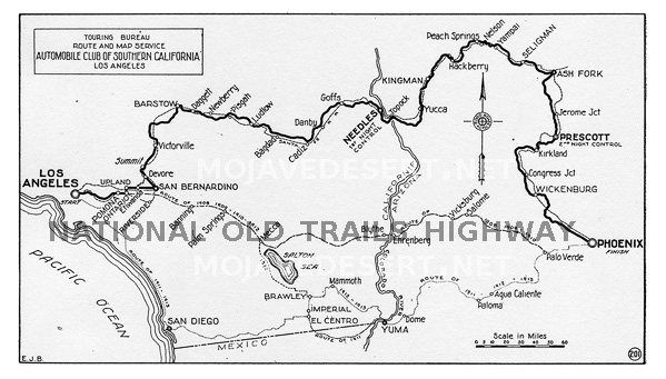 Historic Route 66 California Map.National Old Trails Highway