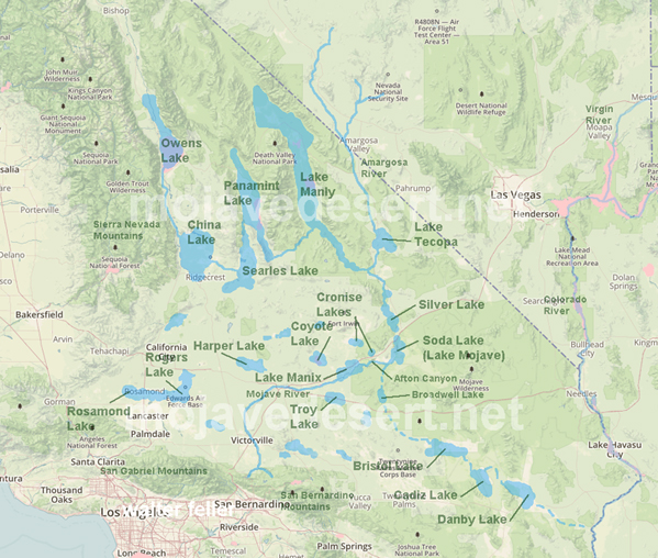 Changing climates and ancient lakes mojave desert map of pleistocene lakes and rivers of the mojave region gumiabroncs Gallery