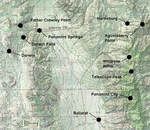 Darwin California Map.Panamint Valley